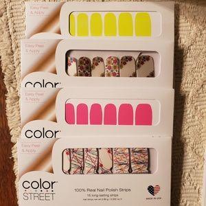 4 sets of Color Street Nail Polish Strips